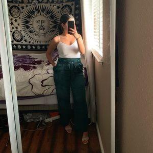 Cropped satin pants